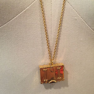 Kate spade pack your bags suitcase neckalce gold